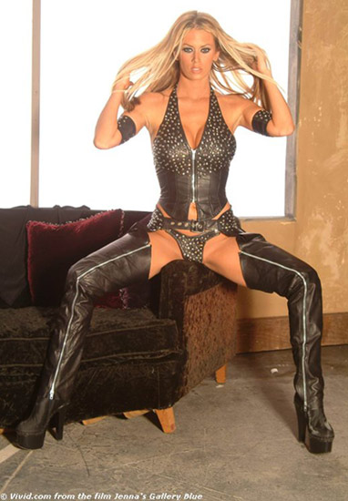 A sexy leather studded, cowgirl Jenna Jameson -