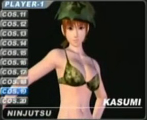 Dead or Alive's Kasumi in a military bikini set, with hat - Copyright Tecmo