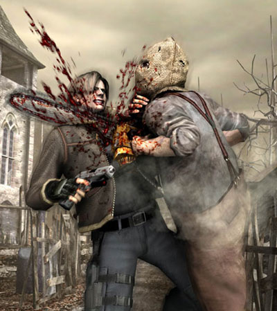 Resident Evil 4 was the only game to have promotinal shots, of the main character getting