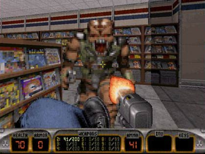 Duke Nukem is on a rampage, but fighting trough adult cinemas and adult magazine stores, is just ace! - Copyright 3D Realms