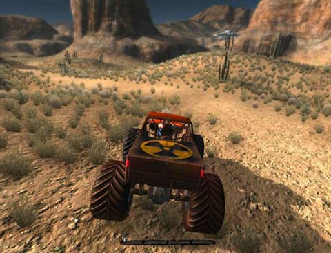 Yeah, this surprized us too...Duke is rolling around in a monster truck! - Copyright 3D Realms